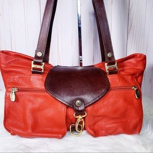 Valentina Orange & Brown Leather Satchel